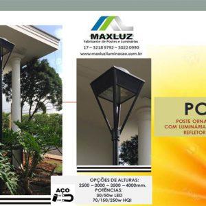 PO21- Poste Ornamental com Luminária Pirâmide
